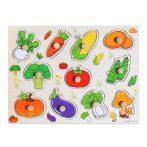 Fa fogantyús puzzle zöldségek