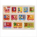 Fogantyús fa puzzle ismerkedj a számokkal 0-10-ig