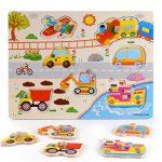 Fa fogantyús puzzle járművekkel kirakós játék