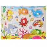 Fogantyús fa puzzle tengeri állatokkal