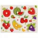 Fogantyús fa puzzle gyümölcsökkel
