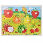 Fa ki-berakó fogantyús puzzle gyümölcsök