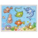 Fogantyús fa puzzle tengeri állatos