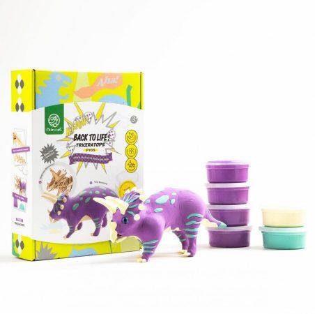 DIY 3D Fa Puzzle és gyurma szett Triceraptops dinos játék