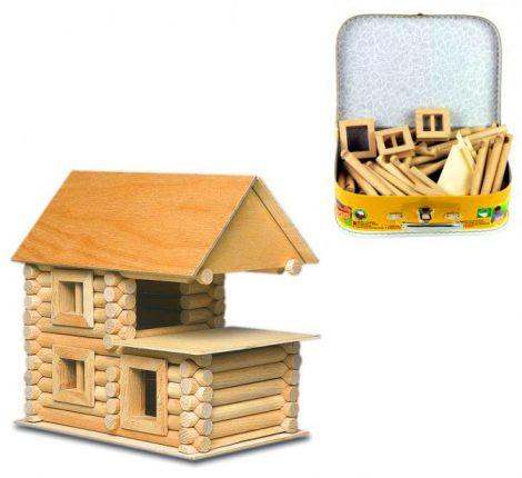 Fa építőjátékok - Fa építőjáték bőröndben